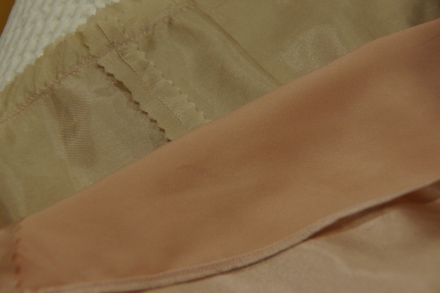 Narrow Baby Hem and Pinked seam finishes